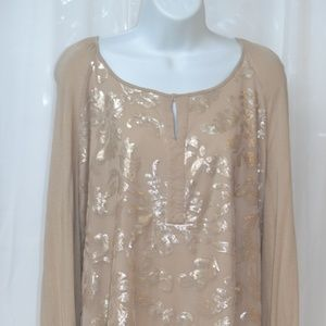 Knox Rose Beige Sequins XL  High Low hem
